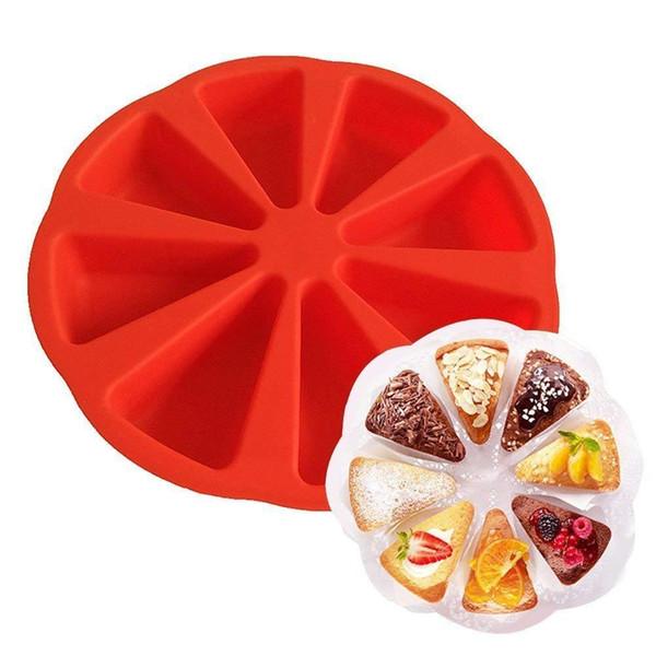 Torta di stampo in silicone fai da te della torta del fondente della muffa pasticceria cottura Partito strumento Bakeware 8 Punti Pane Pasticceria Mold Pizza Pan KKA7555