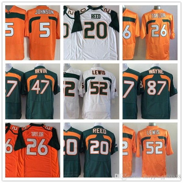 Miami Hurricane 5 Andre Johnson 20 Ed Reed 26 Sean Taylor 47 Michael Irivin 52 Ray NCAA College Football Maglie Loghi cuciti