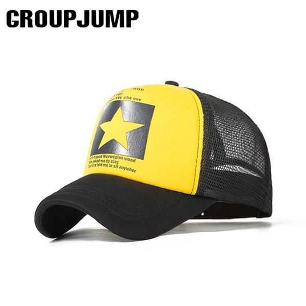GRUP JUMP Beş Yıldız Desen Kapaklar Erkekler Beyzbol Şapkası Yaz Örgü Snapback Kapaklar Kadın Erkek Spor Kap Nefes Kemik Gorras