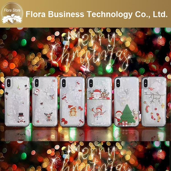 White Snow Snoeflake Phone Case Gifts Glitter PC Phone Covers Transparent Christmas Quicksand Phone Cases for iPhone 7 8 X XR