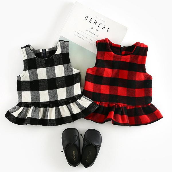 Vests for girls spring autumn girls black red plaid printed casual vest baby o-neck sleeveless clothes kids girl outfit 6-36M