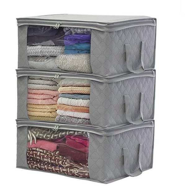 12 Pieces Foldable Storage Bag Organizers, Large Clear Window & Carry Handles, Great for Clothes, Blankets, Closets, Bedrooms, and Morek