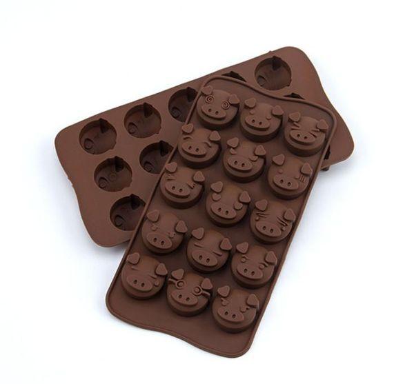 15 Fori divertente maiale animale del silicone muffa del fondente di cioccolato da cucina in silicone della muffa cookie Chocolate Cake Soap Candy fai da te Mold