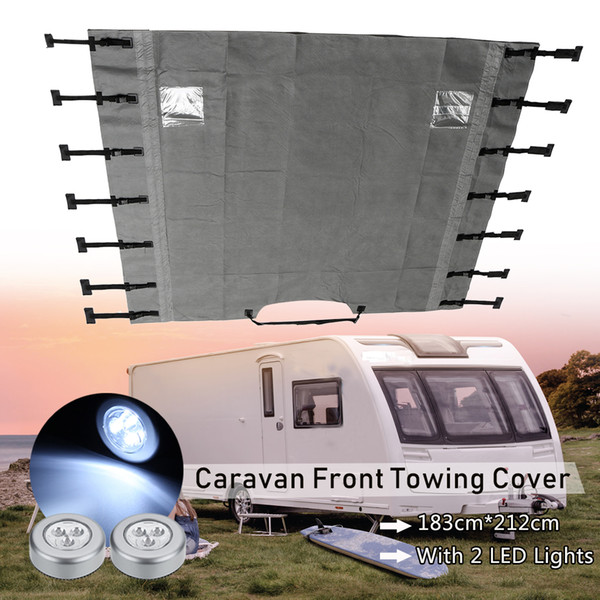 best selling Universal Caravan Front Towing Cover Waterproof Dustproof with LED Lights for RV Motorhome