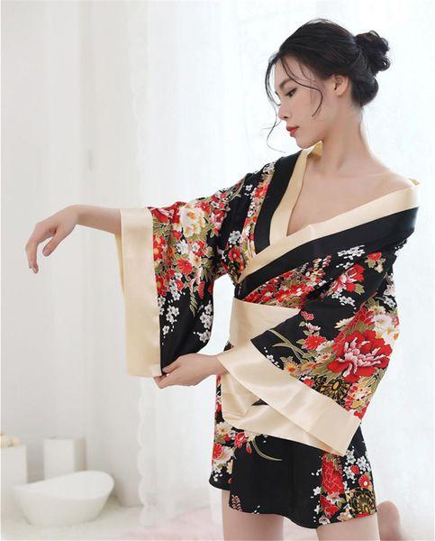 Personalità sexy lingerie profondo V stampato giapponese kimono vestito uniforme tentazione biancheria NB-1144