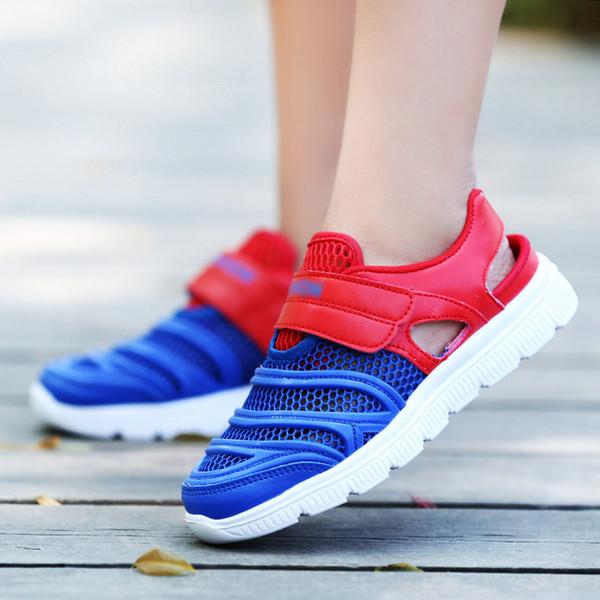 Nefes Sneaker Büyük Çocuklar Mavi Kırmızı Moda Rahat Ayakkabılar Rahat Örgü Üst hafif Bebek Meshable sandalet B11