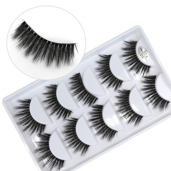 3D-Y36 5pairs/set Y series transparent terrier False EyeLashes 5 Pairs 3D Natural soft silk Eyelashes Handmade eyelashes