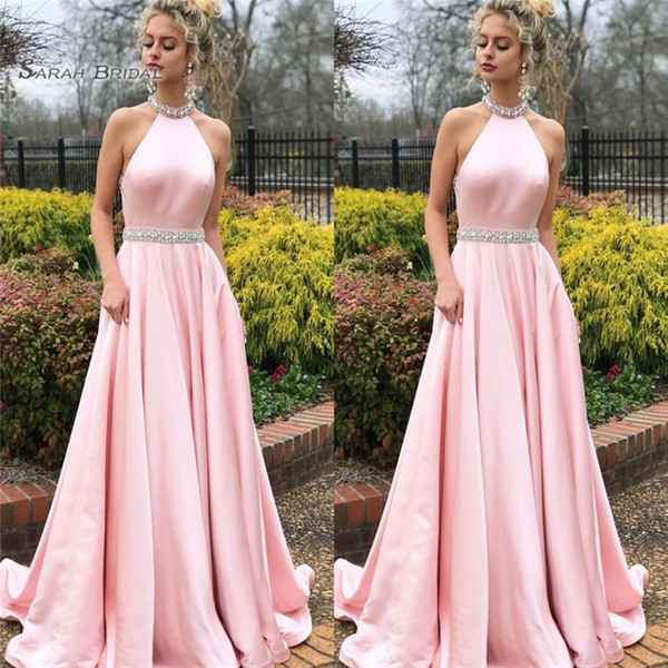2019 Pink Prom Dresses Halter Beads Sweep Train High End Quality Evening Party Dress Hot Sales