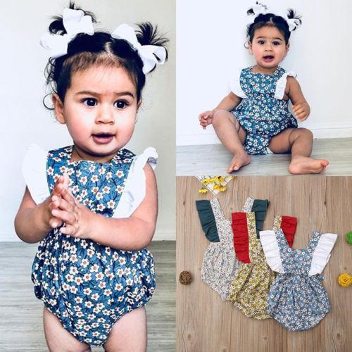 Baby Girl Floral Ruffle Macacão Sem Mangas Romper para o Bebê Recém-nascido Menina Infantil Crianças Roupas de Vestuário Infantil