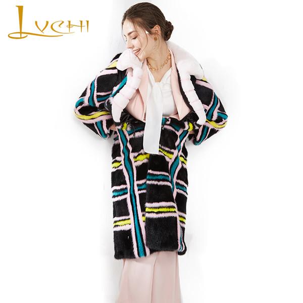 lvchi winter 2019 plaid women's natural fur slim coat causal x-long mink coats imported swan velvet turn-down collar mink coats