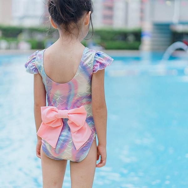 Ins venda quente Sereia crianças swimwear arcos meninas swimwear + chapéus 2 pcs meninas Ternos de Natação Crianças Ternos de banho meninas biquíni menina maiô A6405
