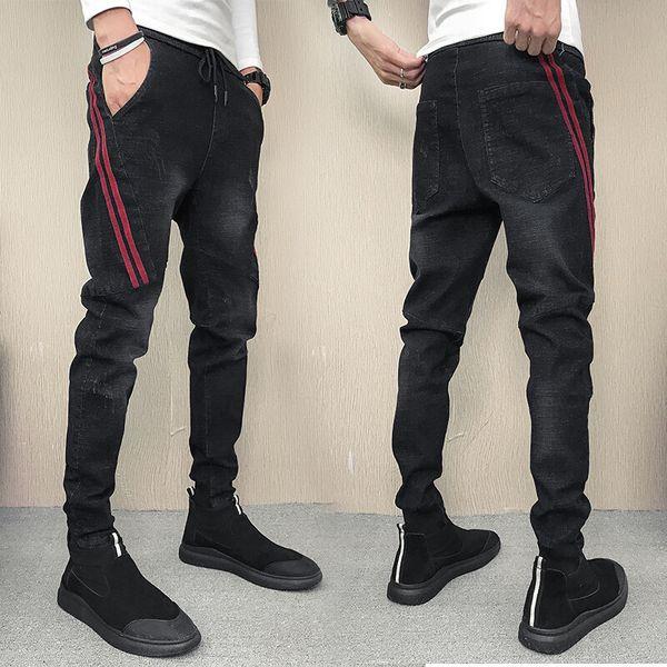 Wholesale 2019 Spring autumn social guys beamed denim skinny jeans streetwear casual pants male Korean stretch trousers boys