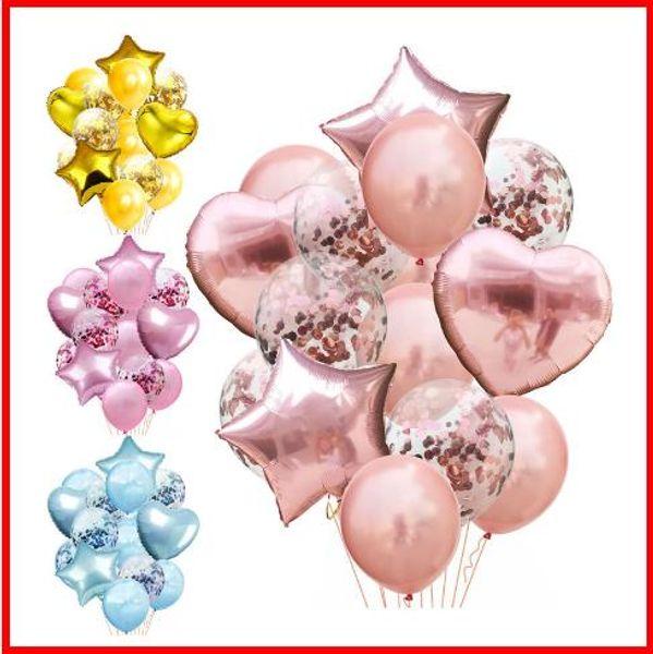2019 palloncini colorati in lattice da 14 pollici da 12 pollici Palloncini colorati multi coriandoli Forniture per feste nuziali di buon compleanno Palloncino elio in oro rosa