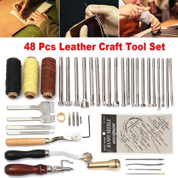 48pcs/set Leather Craft Punch Tool Kit Hand-stitched Engraving Stamp Awl Saddle Make Bag Fitting