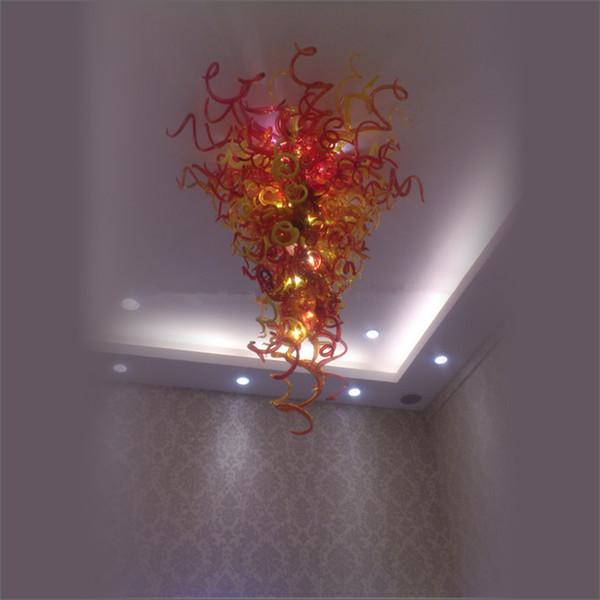 New Modern LED K9 Ball Crystal Hanging DIY Hand Blown Glass Chandeliers blown glass chandelier rustic crysta Home Lobby