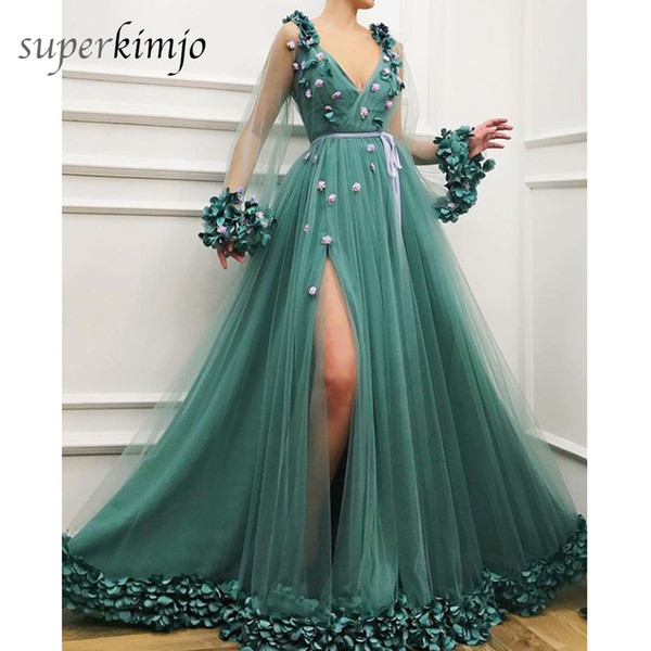 Green Prom Dresses Hand Made Flowers 3D A Line Side Slit Floor Length Tulle Long Sleeve Evening Dresses Arabic