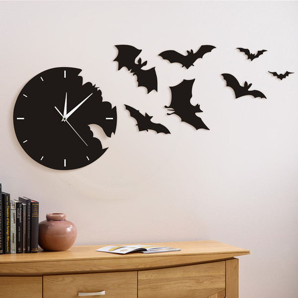 best selling A Bat Clock From The Escape Clock Halloween Bat Silhouette Wall Scary Symbols Home Decor Contemporary Black Wall