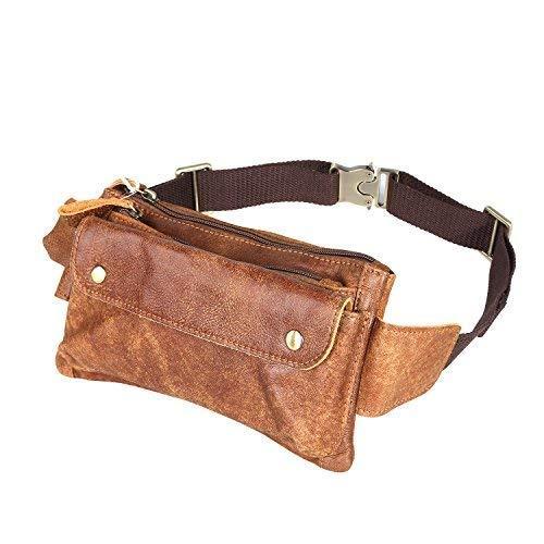 Unisex Brown Genuine Leather Waist Bag Messenger Fanny Pack Bum Bag for Men Women Travel Sports Running Hiking