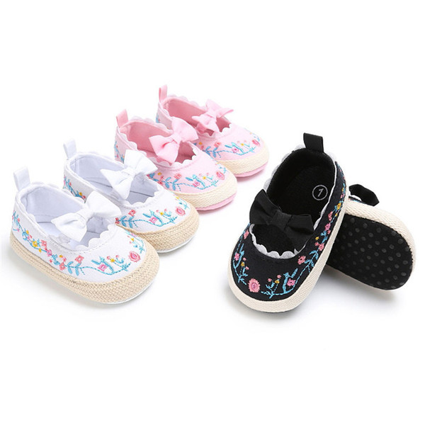 Baby Girls Shoes Fashion Newborn Infant Baby Girls Canvas Floral Bowknot Lace Shoes Soft Sole Anti-slip First Walker M8Y04