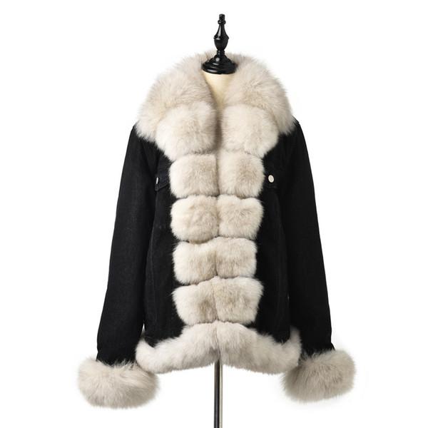 FURSARCAR 2019 Новая Мода Настоящая Меховая Парка Женщин Жан Куртка Зимнее Пальто С Голубым Меховым Воротником И Манжетом Повседневная Теплая Парка