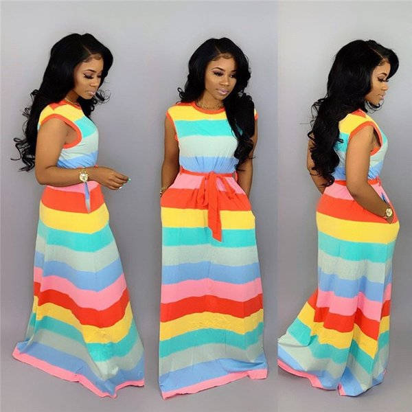 Women Rainbow Striped Dress Fashion Designer Short Sleeve Women Color Pabnelled Dresses Summer Long Dress with Sashes