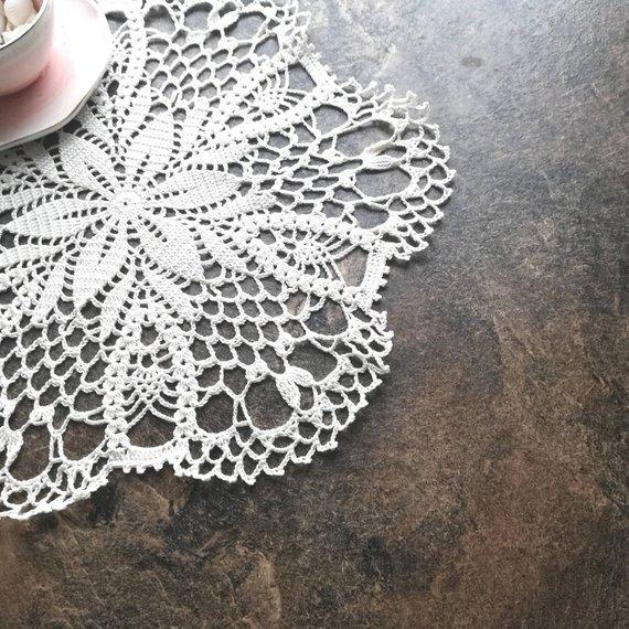 2PC Handmade Crocheted Doilies Vintage Flower placemats coasters kitchen accessories Diameter 13 inches (33 cm.) Home Wedding Decorative