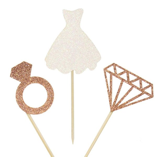 12pcs Glitter Rose Gold Bride to be Wedding Dress Diamond Cupcake Toppers for Wedding Engagement Bridal Shower Decorations