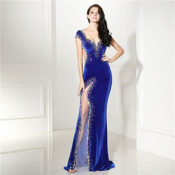 Реальные фотографии элегантный бархат Русалка длинные синие вечерние платья Vestido де феста женщины бисером рукавов халат де суаре сексуальные платья выпускного вечера