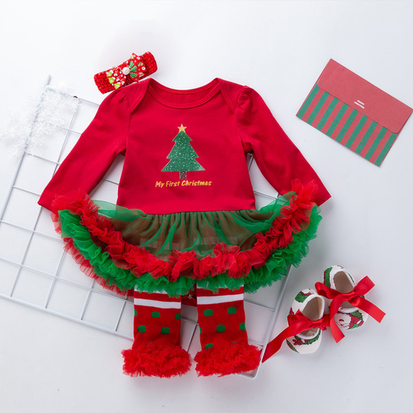 1 Set Spring Fashion Dresses For Baby Girls Winter Christmas Tree Pattern Tutu Dress Lace Bow Long Sleeve Princess Dress