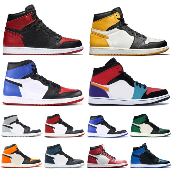 best selling Mens 1 OG Basketball Shoes mens 2019 black toe game royal banned unc 1s High quality top 3 Designer Trainers Sneakers Size 40-46