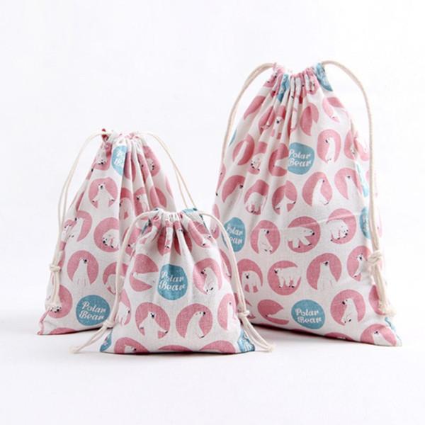 Vogvigo Frauen Reisen Kordelzug Baumwolle Leinen Kosmetik Aufbewahrungskoffer Multifunktionale Make-Up Tasche Stofftaschen Leinwand