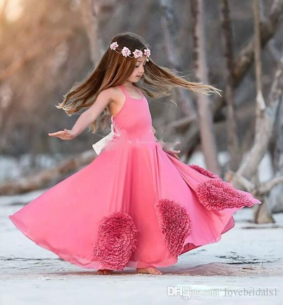 Sexy Halter Water Melon flower girls dresses for beach wedding Ruffle hand Flower Floor Length Girls Pageant Dresses For toddler