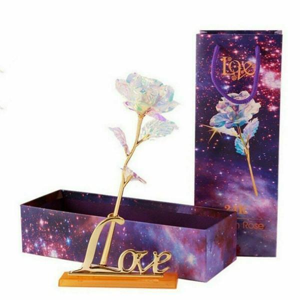 24 K Banhado A Ouro Galáxia Rosa Flor Presente dos Amantes do Dia dos Namorados Romântico Cristal Rosa Com Caixa Namorada Esposa Amor Melhor Presente
