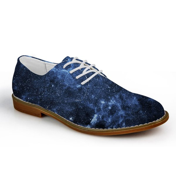 Customized Fashion Men's Casual Leather Shoes 3D Galaxy Space Star Prints Lace-up Flats Oxfords Shoes for Men Oxford 2019