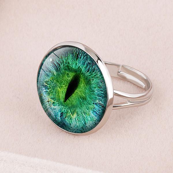 Style 1 Cross-Border New Accessories Devil's Eye Turkey Blue Eyes Time Gemstone Ring Medusa Eyes Birthday Gift Customized Pattern Photo`Ring
