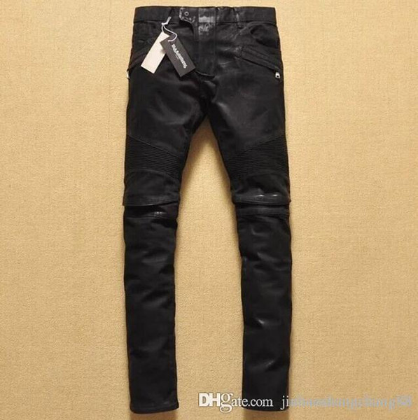 nouveaux pantalons hommes Brand Jeans noir pour hommes genou jeans locomotive épilation à la cire revêtement se replient Pantelons Denim Pantalons simple Pantalons