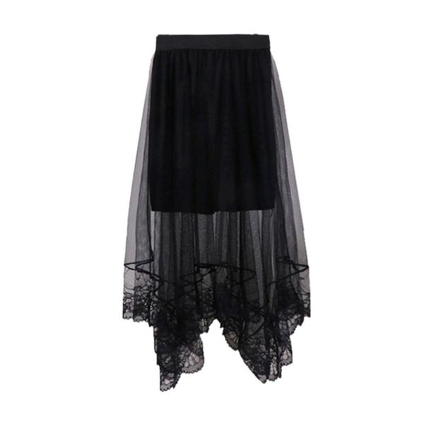 Women High Waist Mesh Party Dress Scalloped Lace Trim Lined Solid Color Irregular Hem Pleated Double Layer Sheer Midi Long Skirt