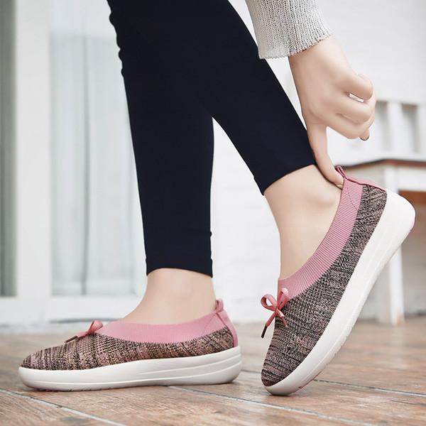 2019 Novas Mulheres Ballet Flats Voar malha Sapatos de Tecido Elástico Mulher Memória Espuma Palmilha Deslizamento Em Borboleta nó Sapatos Casuais