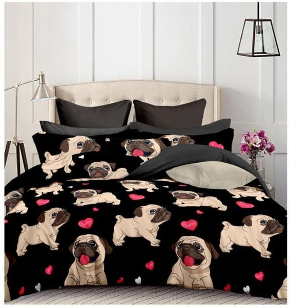 Duvet Cover New Heart Bulldog cute dog 2/3pcs Quilt cover pillowcase Home Textile Student Dormitory Home Spinning Products