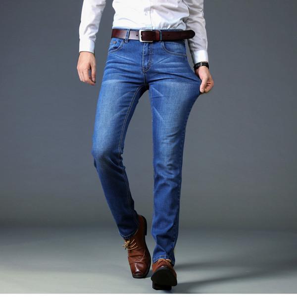 Длинные прямые джинсы брюки синие тонкие брюки новые мужские дизайнерские джинсы мода мужская одежда прямая поставка 220245
