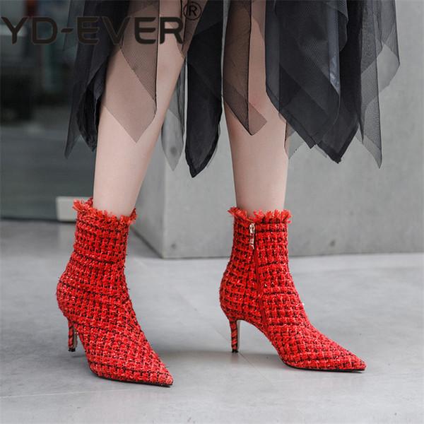 YD-EVER Marca de Moda Mulheres Ankle Boots Sexy Dedo Apontado Partido Night Club Bombas de Senhoras Outono Novas Botas Básicas Feminino Escritório bomba