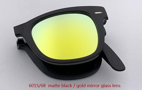 601S / 68 ماتي أسود / الذهب عدسة مرآة