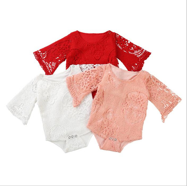 Baby Clothes Kids Lace Rompers Toddle Ins Solid Jumpsuits Newborn Fashion Boutique Onesies Infant Summer Cotton Bodysuits Climb Clothes 4674