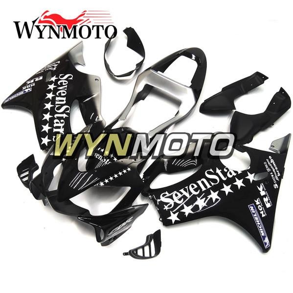 Kit de carenado completo de plástico ABS de inyección para Honda CBR600F4i 2001 2002 2003 CBR600 F4i 01-03 Carrocería negro brillante con estrellas blancas