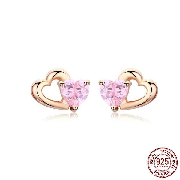100% argent sterling 925 haut haute tendance produits chauds rose zircon boucle d'oreille goujon coeur cz bijoux post boucle d'oreille