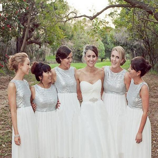 2019 Grey Sequined Wedding Guest Dresses Jewel Cap Sleeve Long Bridesmaid Dresses Maid Of Honor Gowns Party Dress Wedding Dresses Bridal