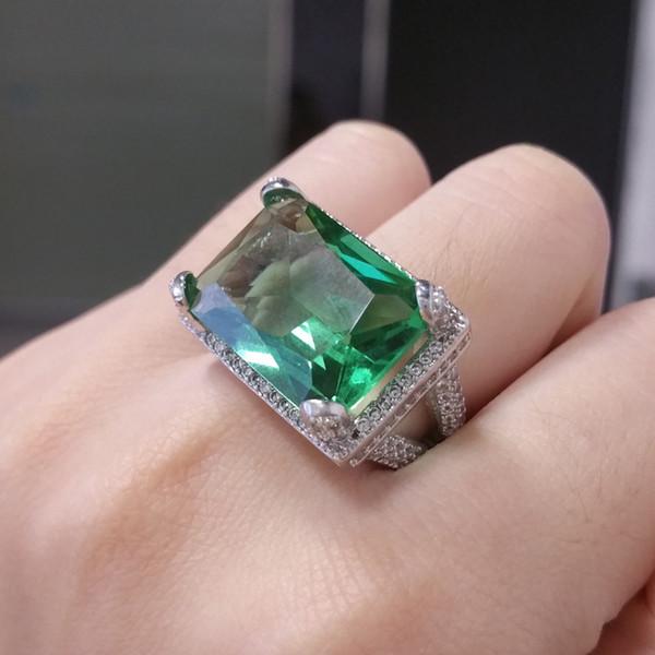 Simple Geometric Square Crystal Zircon Women Rings Big Green Stone Wedding Engagement Rings Jewelry Size 6-10 anel feminino