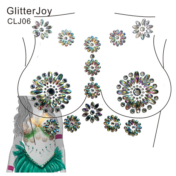 2019 Clj06 Paste Nipple Covers Bra Breast Pasties Chest Jewel Adhesive Stickers For Fiesta Carnival Or Rave Party From Himalayastore 11 09