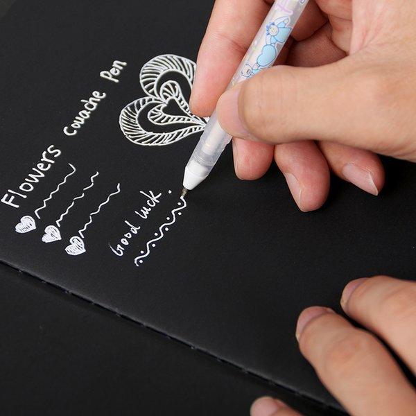 Tinta branca Cor Photo Album 0.8mm Gel Caneta Bonito Unisex Caneta Presente Para As Crianças Artigos de Papelaria Material Escolar Aprendizagem Escolar
