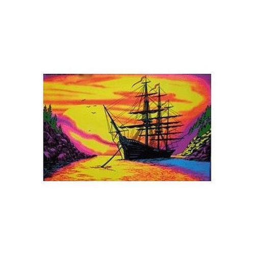 SUNSET BAY - SHIP BLACKLIGHT Art Silk Poster 24x36inch 24x43inch 0585